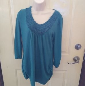 Maurice's Teal Ruffle Ruched Top